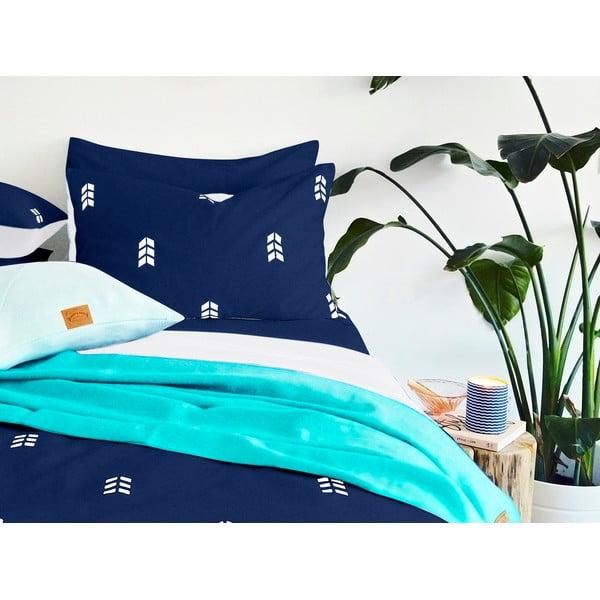 Modré povlečení Hawke&Thorn Finch Straw,150x200cm +polštář 50x60cm