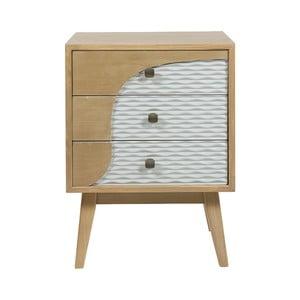 Noční stolek z borovicového dřeva se 3 šuplíky Santiago Pons Blue