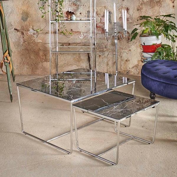 Sada 2 konferenčních stolků s podnožím ve stříbrné barvě a černou deskou vdekoru mramoru RGE Stella