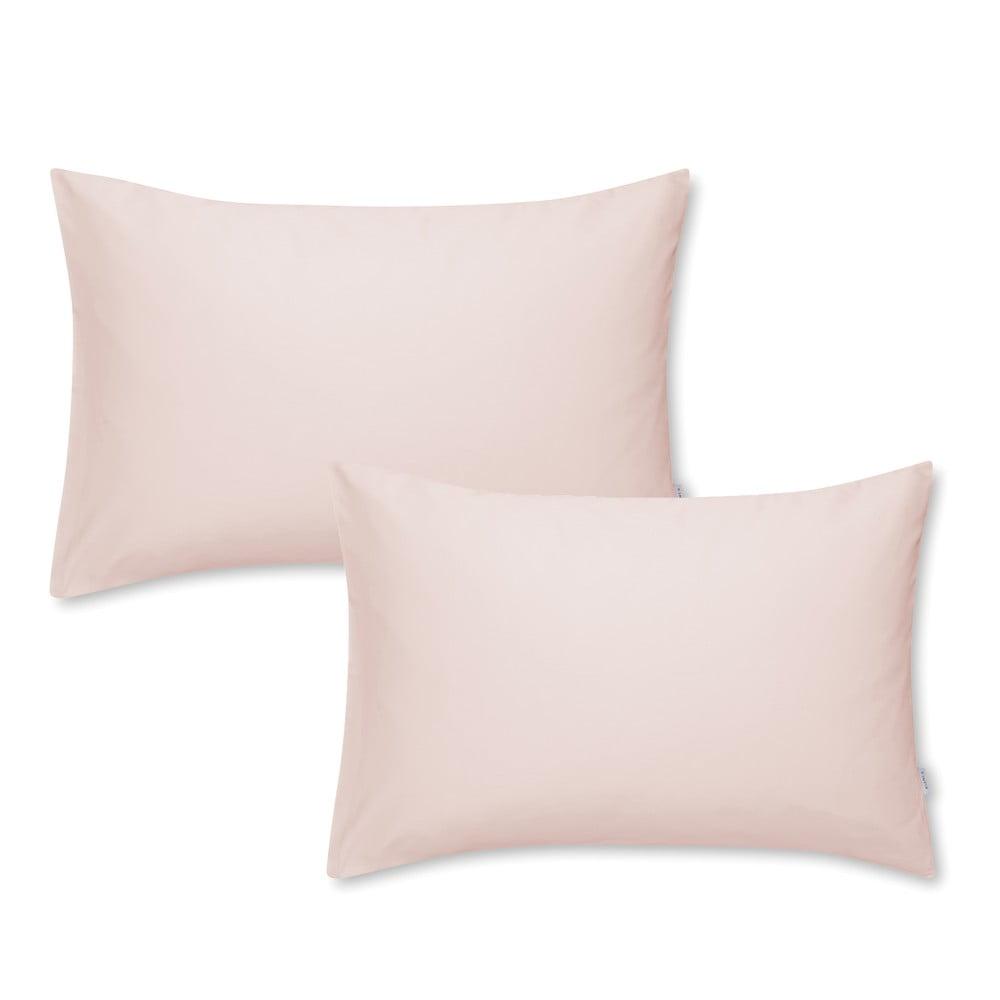 Sada 2 růžových na povlaků na polštář z bavlněného saténu Bianca Standard, 50 x 75 cm