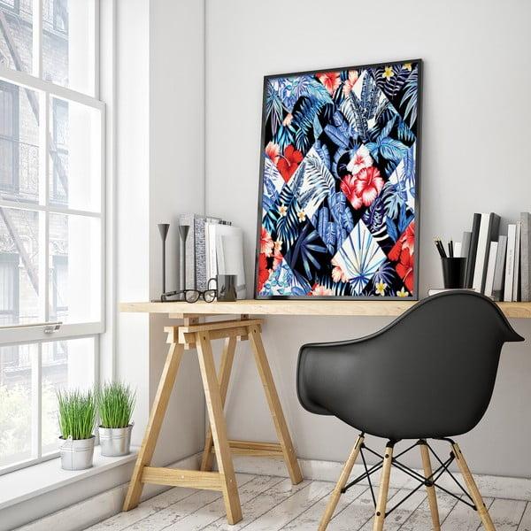 Plakát s květinami, černo-bílé pozadí, 30 x 40 cm