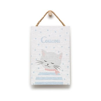 Tablou din lemn KICOTI Cat, 20 x 30 cm, multicolor de la KICOTI