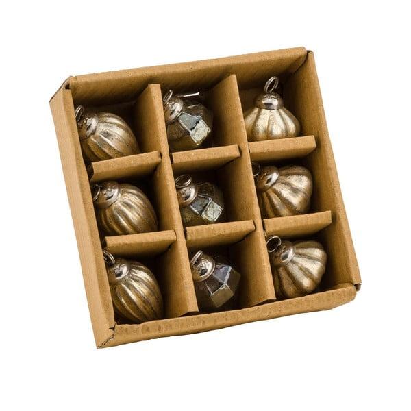 Zestaw 9 ozdób świątecznych w kolorze złota Ego Dekor