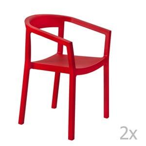 Sada 2 červených zahradních židlí s područkami Resol Peach