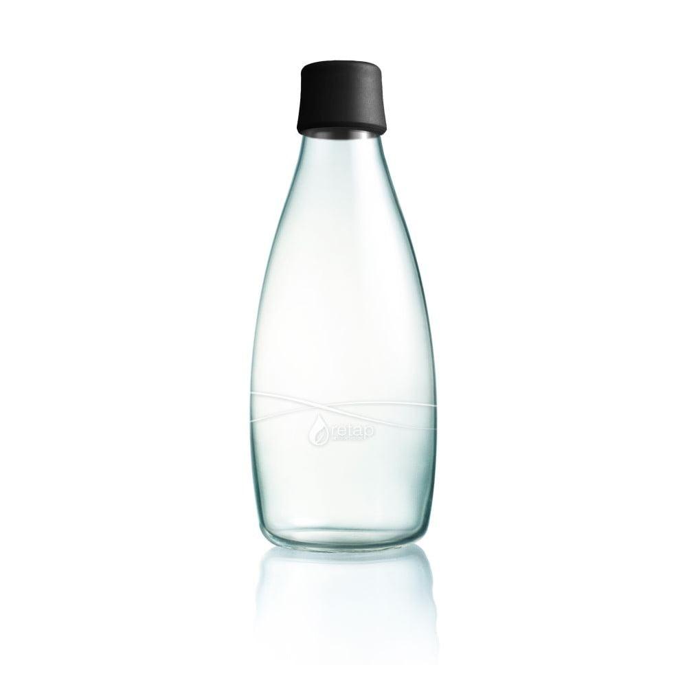 Černá skleněná lahev ReTap s doživotní zárukou, 800 ml