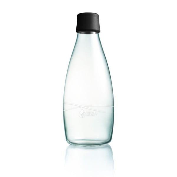 Černá skleněná lahev ReTap s doživotní zárukou, 800ml
