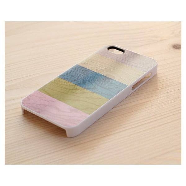 Obal na iPhone 5, Pastel Stripes on wood/white I