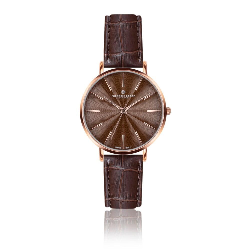 Dámské hodinky s hnědým páskem z pravé kůže Frederic Graff Rose Monte Rosa Croco Brown Leather