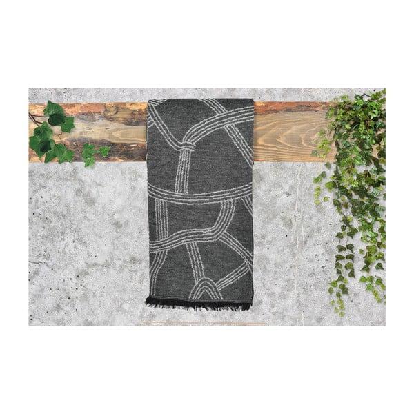 Tmavě šedý dámský šál s příměsí bavlny Dolce Bonita Spider, 170 x 90 cm