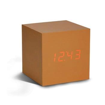 Ceas deșteptător cu LED Gingko Cube Click Clock, arămiu - roșu