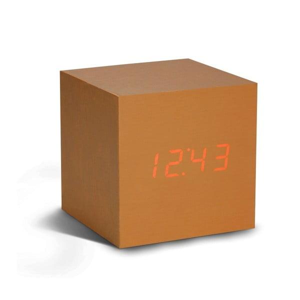 Oranžový budík s červeným LED displejem Gingko Cube Click Clock