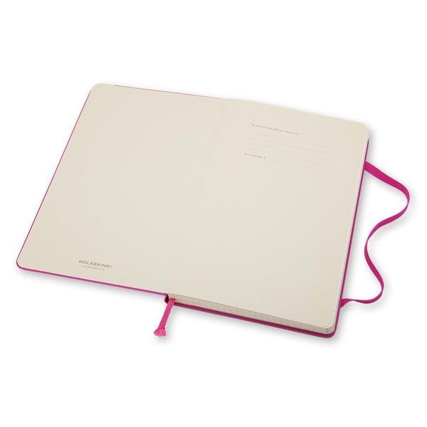 Vělký růžový zápisník Moleskine Hard, čtverečkovaný