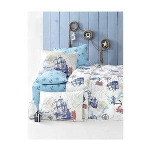 Lenjerie de pat cu cearșaf Marine, 160 x 220 cm