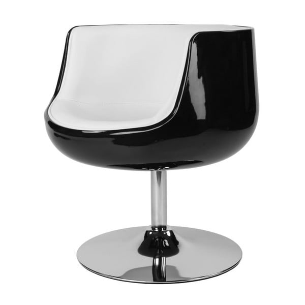 Otočná židle Cognac, černá/bílá