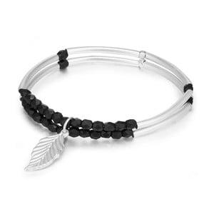 Dámský náramek ve stříbrné barvě s černými korálky Runaway Leaf