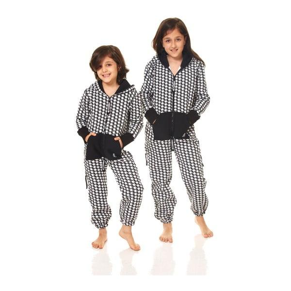 Černo-bílý dětský domácí overal Streetfly, pro děti 6-7 let