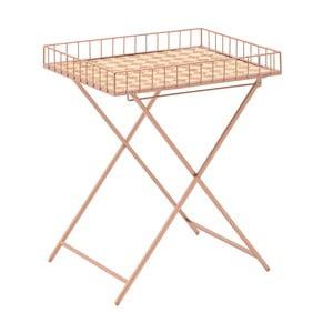Kovový stolek sdřevěnou deskou InArt Noble, výška58,5cm