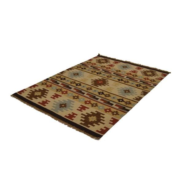 Ručně tkaný koberec Brown Beige Symbols, 140x200 cm