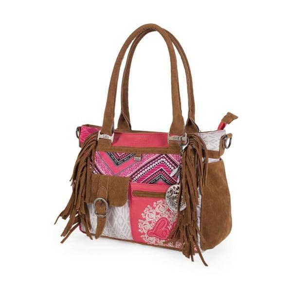 Růžovo-bílá kabelka s třásněmi Lois, 35 x 25 cm
