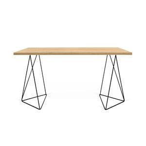 Pracovní stůl v dekoru dubového dřeva s černými nohami TemaHome Flow, délka140cm