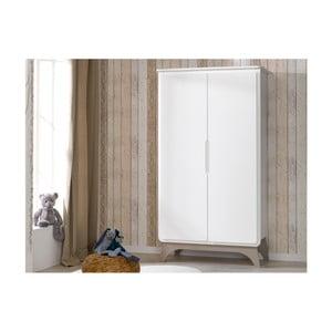 Bílá šatní skříň se světle béžovými detaily BEBE Provence Bonheur