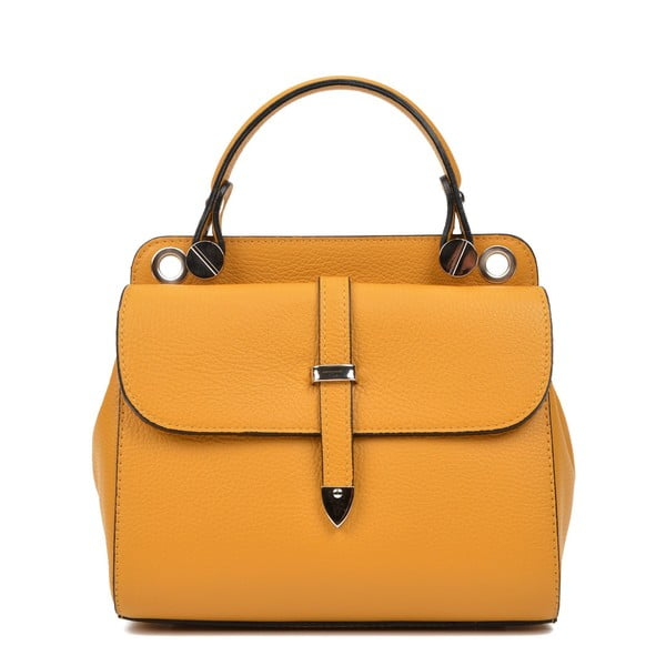 Žlutá kožená kabelka s 2 kapsami Carla Ferreri