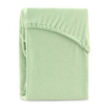 Cearșaf elastic pentru pat dublu AmeliaHome Ruby Light Green, 220-240 x 220 cm, verde deschis