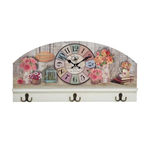 Nástěnný věšák s hodinami Flowers