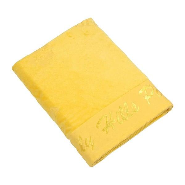 Žlutá bavlněná osuška BHCP Velvet, 80x150 cm