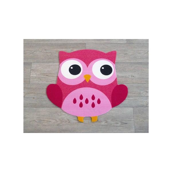 Koberec Owls - růžová sova, 66x66 cm