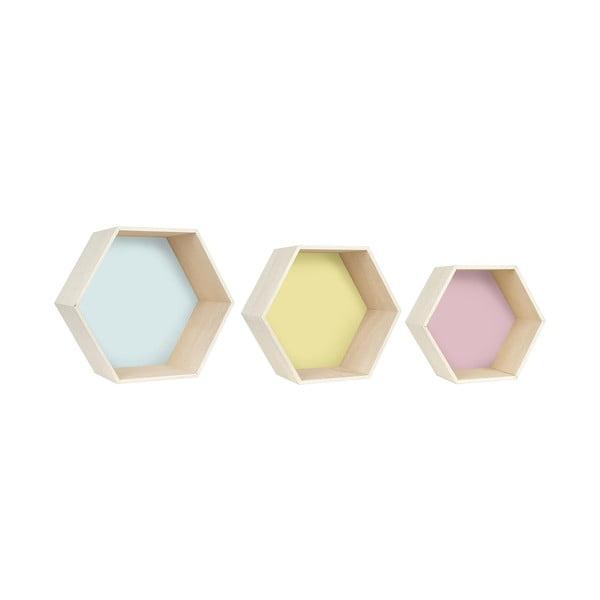 Sada 3 nástěnných poliček Hexagon, barevná