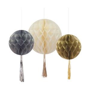Set 3 decorațiuni din hârtie Honeycomb With Tassels