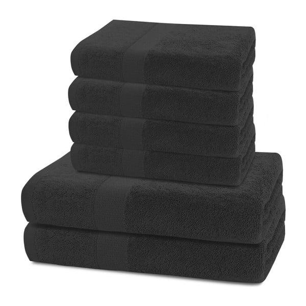 Komplet 2 czarnych ręczników kąpielowych i 4 ręczników DecoKing Marina