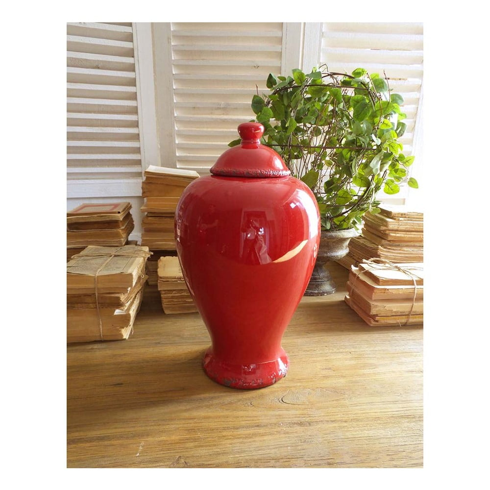 Červená keramická nádoba s víkem Orchidea Milano, výška 38 cm