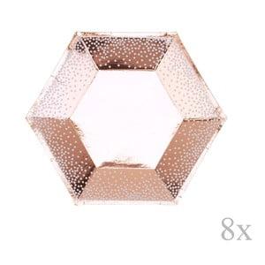 Sada 8 papírových tácků v barvě růžového zlata Neviti Rose Gold Dots, ⌀20cm