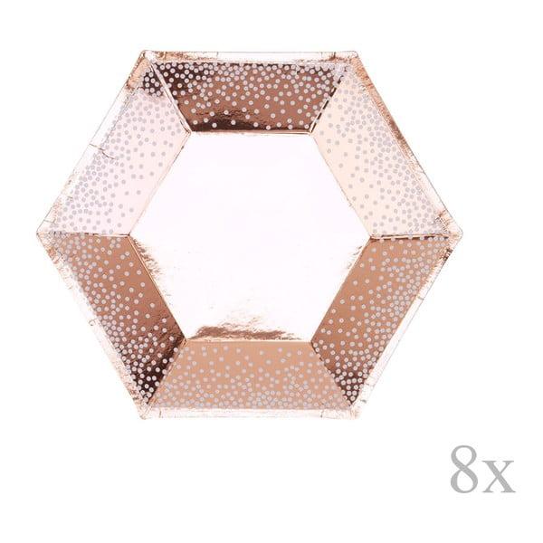Sada 8 papierových tácok vo farbe ružového zlata Neviti Rose zlaté Dots, ⌀ 20 cm