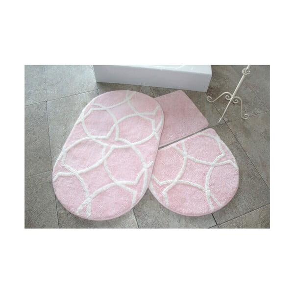 Sada 3 pudrově růžových předložek do koupelny