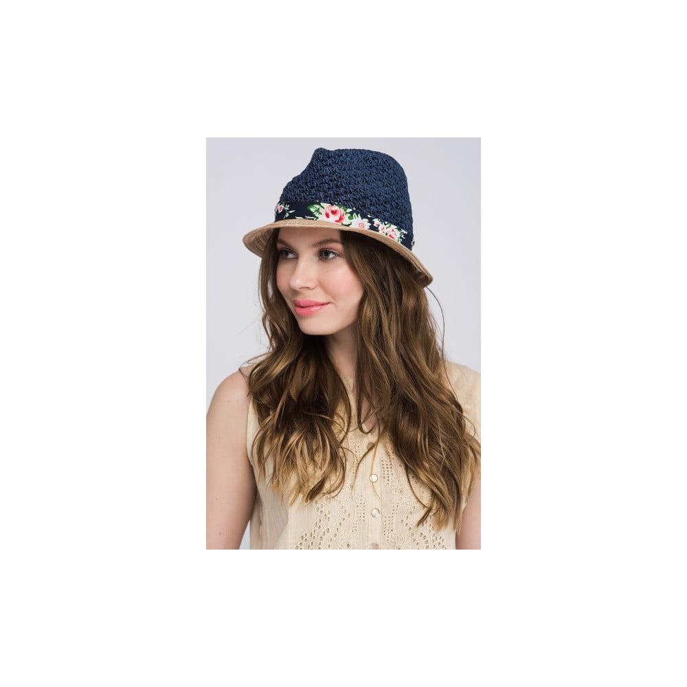 Tmavě modrý dámský klobouk z čisté bavlny s motivem květin NW  69d39d8d35