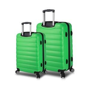 Sada 2 zelených cestovních kufrů na kolečkách s USB porty My Valice RESSNO Large & Medium