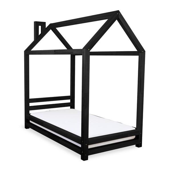 Dětská černá postel z smrkového dřeva Benlemi Happy,80x160cm