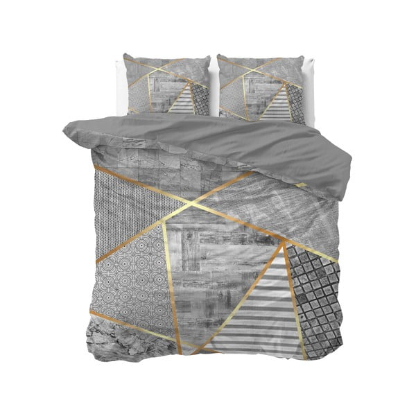 Šedé bavlněné povlečení na dvoulůžko Pure Cotton Graphic,200x200/220cm