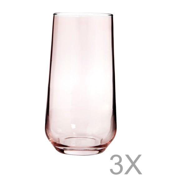 Sada 3 vysokých sklenic z růžového skla Mezzo Paris, 250 ml