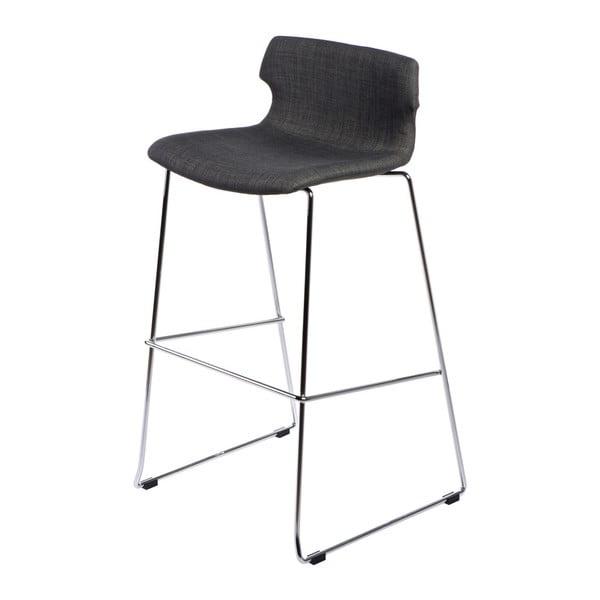 Grafitová čalouněná barová židle D2 Techno