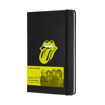 Caiet Moleskine Rolling Stones, 240 pag., hârtie dictando, copertă rezistentă, negru imagine