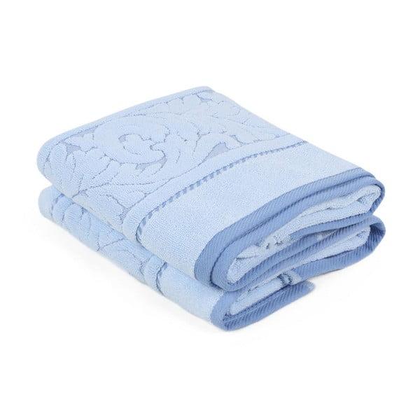 Sada 2 rmodrých ručníků z bavlny Sultan, 50 x 90 cm