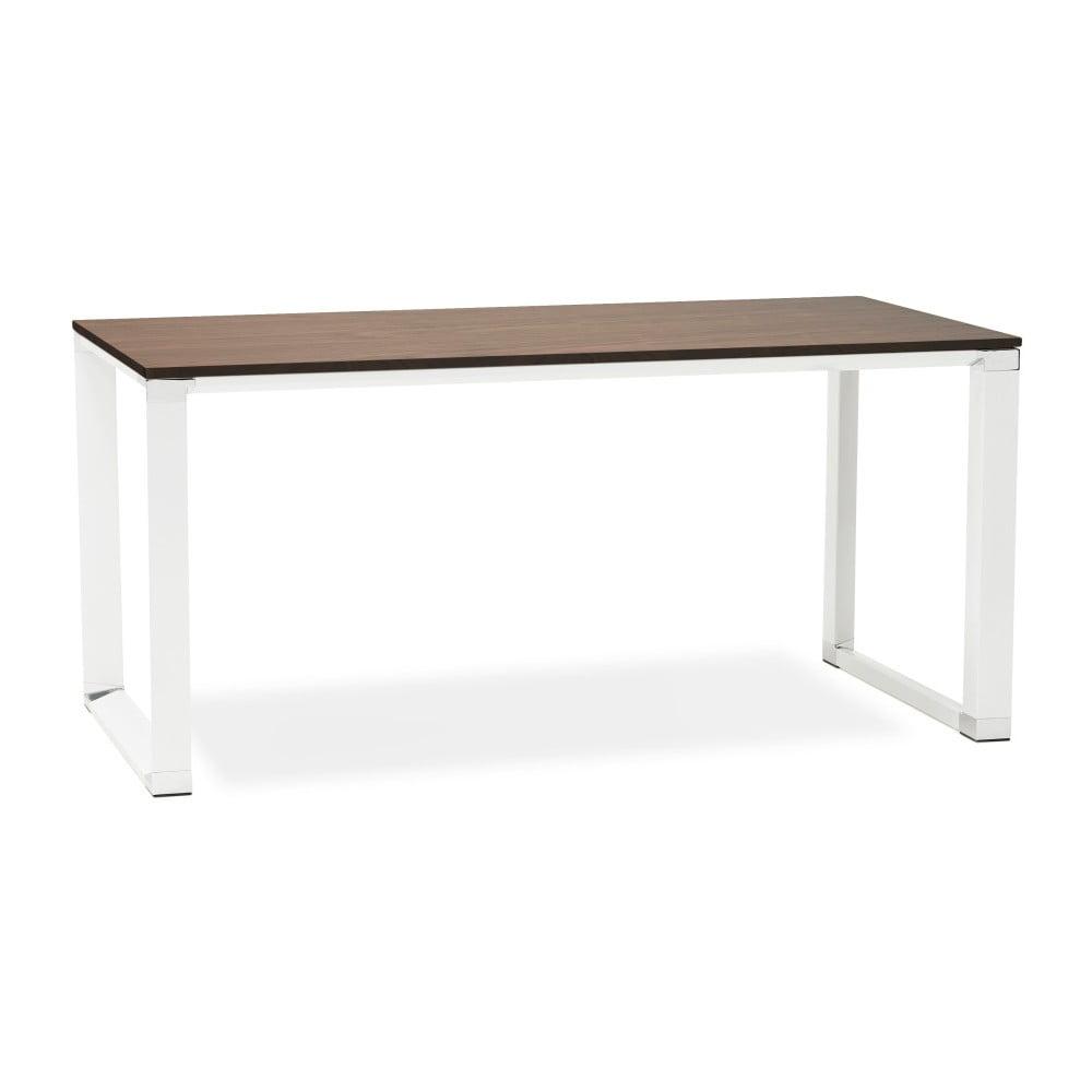 Bílý pracovní stůl s deskou v dekoru ořechového dřeva Kokoon Warner