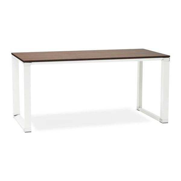Biely pracovný stôl s doskou v dekóre orechového dreva Kokoon Warner
