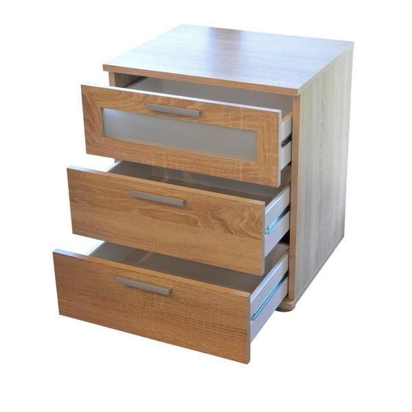 Noční stolek se 3 zásuvkami v dekoru dubového dřeva 13Casa Pepper
