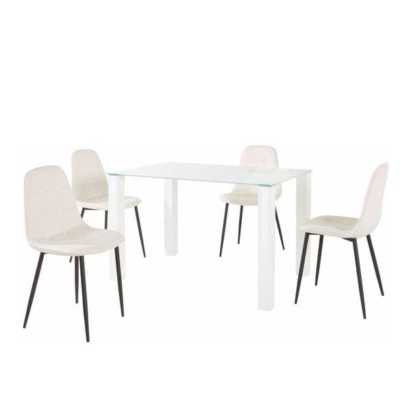 Sada jídelního stolu a 4 bílých židlí Støraa Dante, délka stolu 120cm