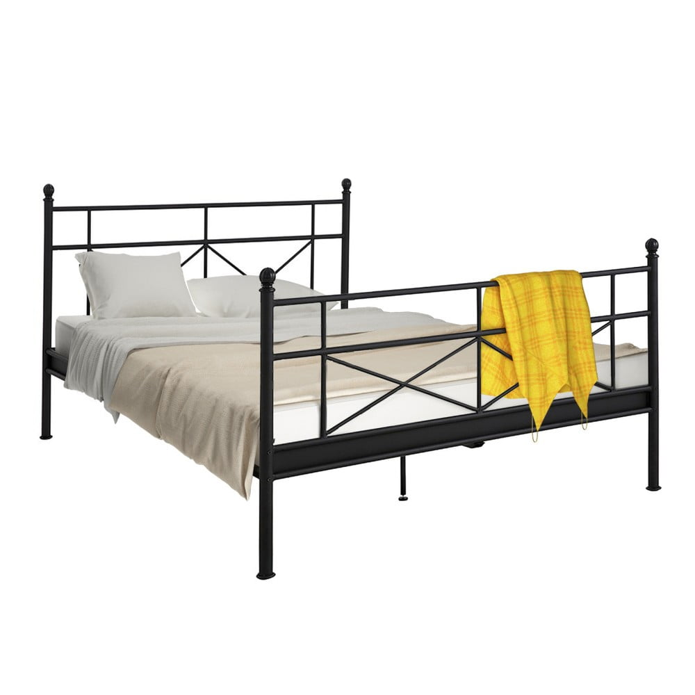 Černá kovová postel Støraa Tanja, 180 x 200 cm